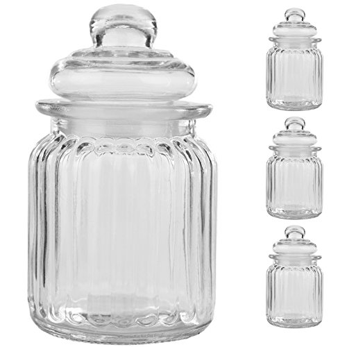 3er Set Luftdichte Vorratsdosen mit deckel Bonbonglas aus Glas Vorratsglas Bonboniere...