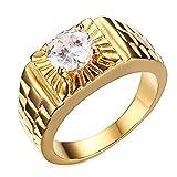LANCHENEL Titan Stahl Männer Gold Diamant Zicron Ringe,Größe 52(16.6)