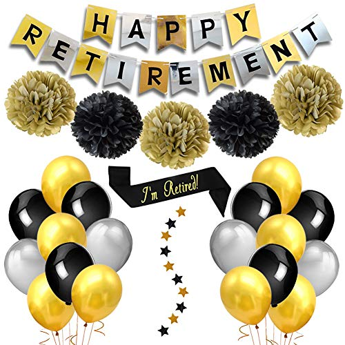 Retirement Party Dekorationen Happy Retirement Banner Gold Schwarz Seidenpapier Pompons Retirement Band Glitzer Star Girlanden Luftballons für Retirement Party Supplies