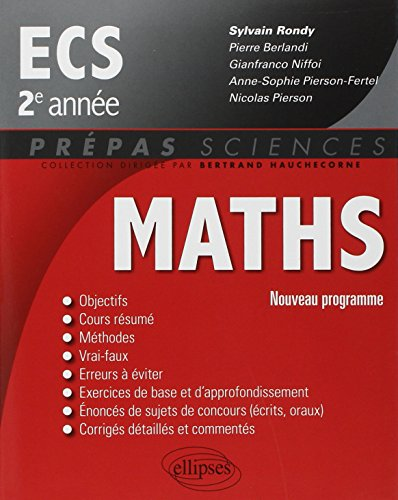 Maths ECS 2e Année Programme 2014 par Sylvain Rondy