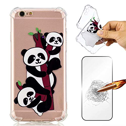 MISSDU Handyhülle iPhone 6/6 Plus 5.5 Hülle Clear Transparent Silikon Weich TPU Bumper Luxury Original Luftkissenschutz+ Displayschutzfolie+Touchscreen Pen-Panda