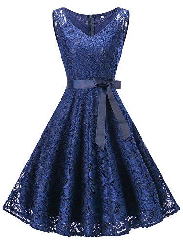 DYLH Damen Spitzen Rockabilly Kleid Festlich Partykleid Cocktailkleid Brautjungfern Kleid V Ausschnitt Ärmellos Dunkelblau XSmall