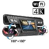 4K Ultra HD WiFi GPS Cámara Coche Grabadora Delantera y Trasera Dual 360° Rotativo 170° Gran Angular Cámaras Dash Cam con Tarjeta Micro SD 128 GB Sony WDR Visión Nocturna ADAS G-Sensor para Coches