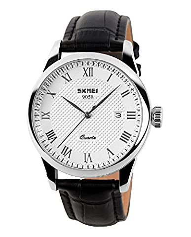 Analog Watch for Men with Leather Band Luxury Fashion, Stainless