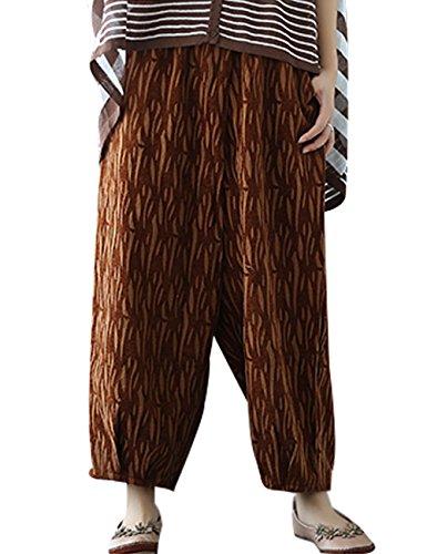 Youlee Donna Autunno Vita elastica Pantaloni a gamba larga Giallo