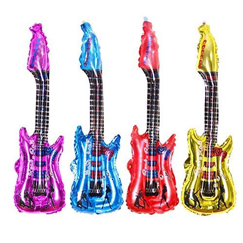 SunBeter 4 Unids Dibujos Animados Globos de Guitarra Inflables Air Globos Party Ballon para Cumpleaños Música Concierto Decoración de Fiesta (85x30 cm)