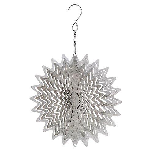 Superbe Moulin à vent en métal Attrape soleil à suspendre pour décoration de jardin Motif tourbillon Argent 15,2 cm