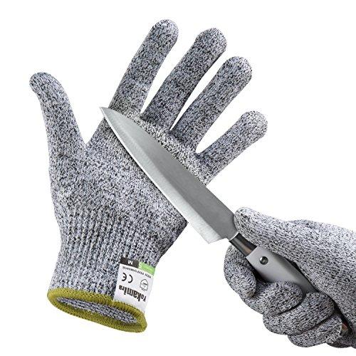 Yokamira Guanti Antitaglio, Guanti da lavoro, Guanti da giardinaggio, guanti da cucina resistenti al taglio, Protezione di Livello 5, Livello Alimentare, Certificato EN 388, 1 paio, Grigio