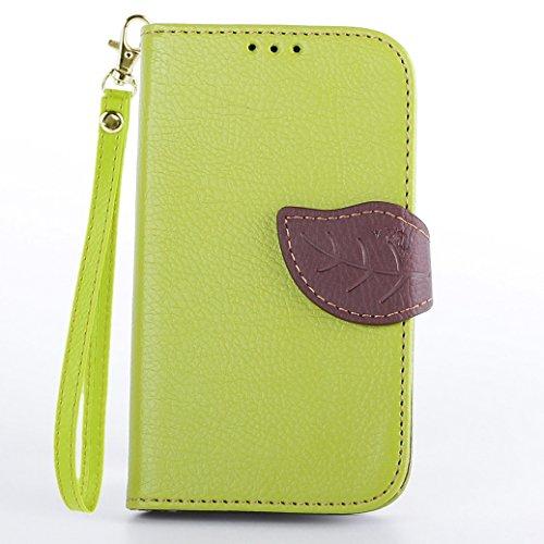 AllDo PU Leder Hülle für Microsoft Nokia Lumia 520 Brieftasche Schutzhülle Mappen Kasten Klapp Hülle Flip Wallet Case Folio Cover Weiche Flexible Schale Schlanke Dünne Tasche Leichte Etui Anti-stoß Anti-Kratz Lederhülle Anti-Rutsch Staubdichte Handyhülle Standfunktion Standfunktion mit Magnetverschluss und Kartenschlitz (+1*Gurt) - Grün (Lumia 520 Nokia Telefon-kasten)