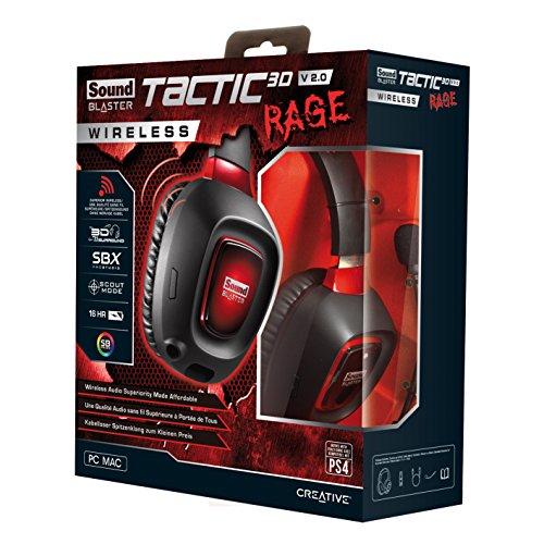 Creative Sound Blaster Tactic3D Rage Wireless V2.0 Gaming Headset für PC, Mac und PS4, schwarz - 6