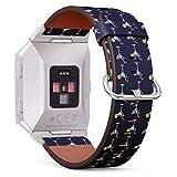 Compatibile con Fitbit Ionic orologio cinturino in pelle con chiusura con fibbia in acciaio INOX e adattatori (cocktail Martini vetro su)