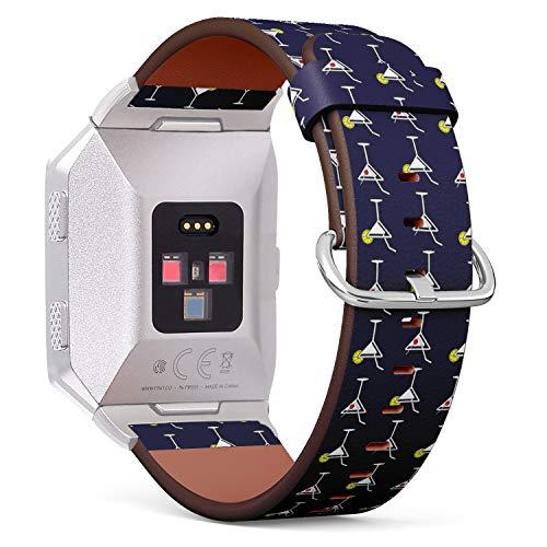 Kompatibel mit Fitbit Ionic Lederarmband, Armband mit Edelstahl-Verschluss und Adaptern (Martini-Cocktail-Glas) Elegante Martini-gläser