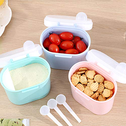 Portable Formula Dispenser with Scoop, BPA Free Milk Powder Container, Food Storage, Candy Fruit Box, Snack Containers, for Infant Toddler Children Travel - Random Color (Small)