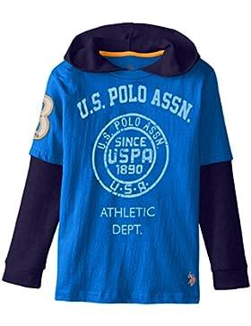 US Polo Assn Kinder Jungen langarm Shirt mit Kapuze blau