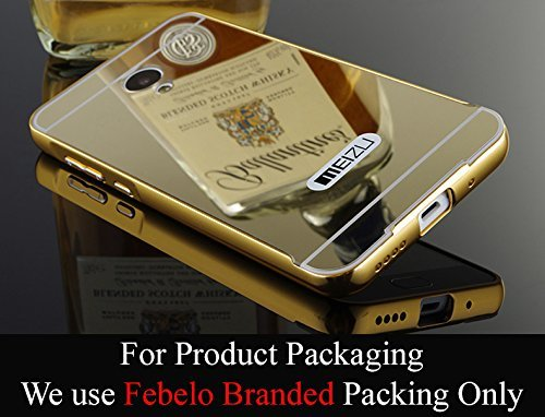 Febelo Branded Luxury Metal Bumper Acrylic Mirror Back Cover Case For Meizu M2 Note - Gold Plated