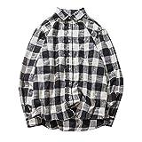 BaZhaHei Herren Langarmshirt Herren Herbst Fashion Cotton Plaid Karo Langarm Shirt Top Bluse Gitter Lange Ärmel Hemd Mantel