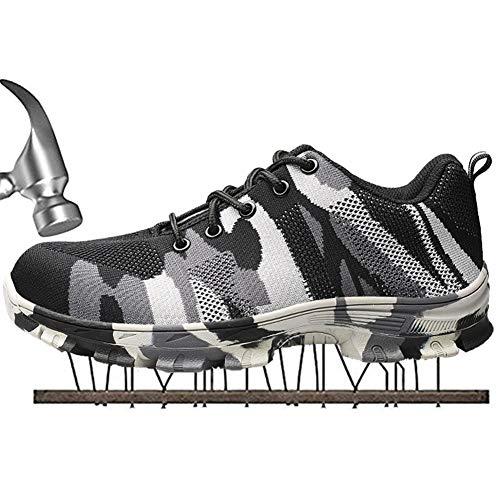 36a8dc58f6b SUADEX Mujer Hombre Zapatillas de Seguridad Punta de Acero Camuflaje Zapatos  de Trabajo Entrenador Unisex Zapatillas