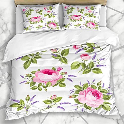 Soefipok Bettbezug-Sets Parfüm Blau Lavendel Vintage Rose Hochzeit Blumen Bündel Grafik Natur Rosa Pfingstrose Weiß Aroma Mikrofaser Bettwäsche mit 2 Pillow Shams -