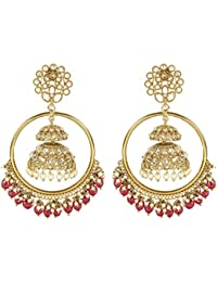 MUCH MORE Fabulous Gold Tone Polki Earring Traditional Jewellery For Women's