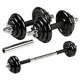 DTX Fitness Einstellbares Langhantel-/Kurzhantel-Set 20kg aus Gusseisen