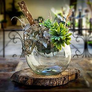 Glasmanufaktur Mitienda, Blumenschale weiß, Vase, mundgeblasene Dekoschale aus Mexiko, Glas Schale, Glas-Recycling
