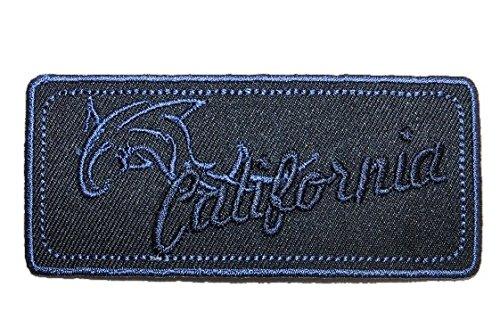 Emblem 9 cm * 4 cm Bügelbild blau California Delfin Abzeichen eckig Orden (Delfine Uniform)