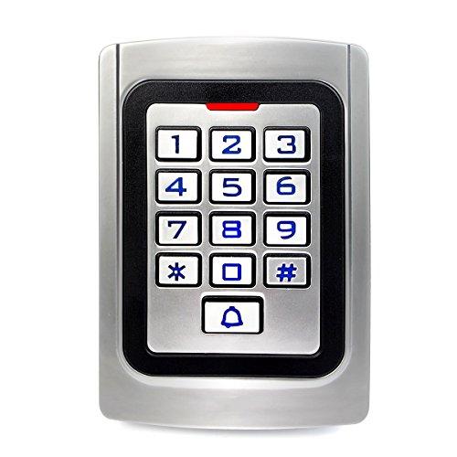 Retekess K10EM-W Codeschloss Zutrittskontrolle Türöffnung PIN-Code 125 kHz RFID-Karte IP68 Wasserdicht Hintergrundbeleuchtete Tastatur Wiegand 26 für Fabrik Warehouse Wohngebäude Bank (Silber)