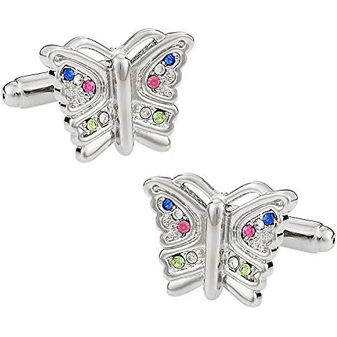 Cuff-Daddy - Gemelli da donna a forma di farfalla, con brillantini multicolori