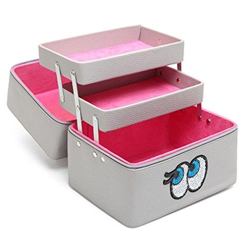 FYX Kosmetikkoffer Makeup Box Schminkkoffer für Reisen Dienstreise weich 25*19*21cm Schwarz Rosa Pink Grau (Grau)