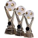 3 x Pokal im Set 18, 20 und 23 cm Pokal Fußball Paris Größe S, M und L Hart-PVC weiß Gold Trophäe Figur Pokalset