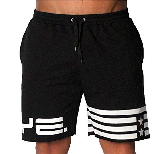 Yesmile Hommes Pantalon Joggeur Pantalons Mode été Pantalons pour Hommes Pantalons de Survêtement Pantalons de Plage Sports Pantalons Mode (L, Noir)