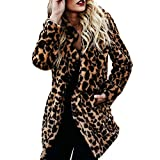 Frauen warme Winter Top Sweatshirt Damen Leopard Print Pullover Jumper Coat Jacken Langer Mantel Swing Dress Rückenfrei Fledermaus Sweater Stricken Pullover Mode Baumwolle Mantel Parka Dicker Outwear