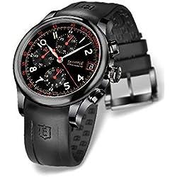 Clock Eberhard treaversetolo 31053_ Cu Breaker quandrante Black Steel Strap CAUCCIU '