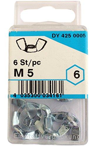 CONNEX 6 Stk. Flügelmuttern M5 verzinkt amerikanische Form 467005/4250005