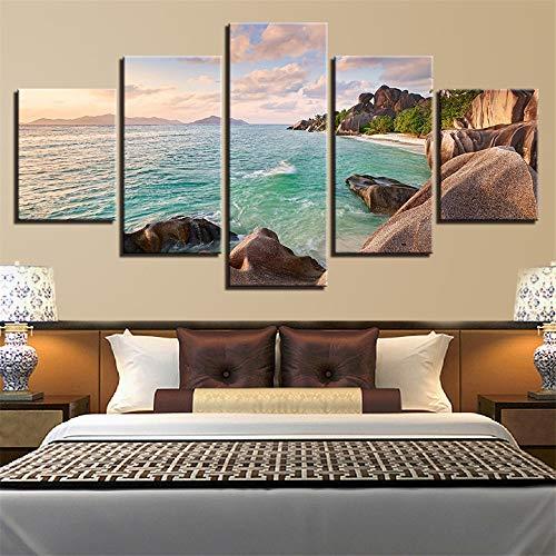 Comecong Dekorative Malerei,Einfache Multi-Wand-Malerei Inkjet Strand Rock Sea View Room Home kreative Handwerk Malerei Malerei 2 Malerei Kern 20x35cmx2 20x45cmx2 20x55cmx1