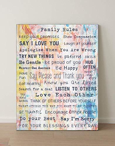 Leinwand Familienregeln - Family Rules, Schriften/Sprüche, Home, zuHause, Respekt, 80x60 cm (Symbol Des Respekts)
