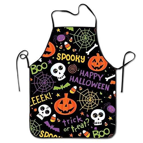 Fiesta de Halloween calavera Lock borde impermeable resistente cadena ajustable fácil cuidado delantal delantal de cocina para mujeres hombres Chef