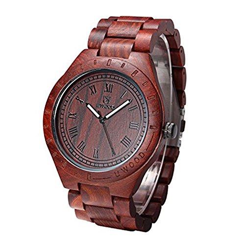 Uwood Nero sandalo di stile annata calda di vendita degli uomini di legno orologio Orologio in legno