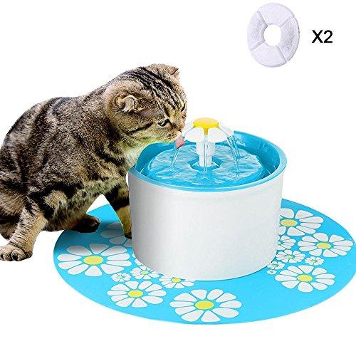 Aolvo Bebedero Automático Silencio, Fuente de Agua para Perros/Gatos, con 1.6L Circulante, 2 Filtros,1 Margaritas y 1 Estera de Silicona Azul