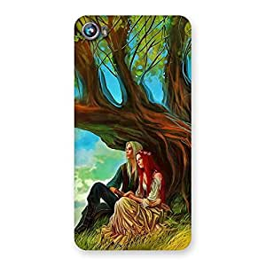 Stylish Couple Under Tree Multicolor Back Case Cover for Micromax Canvas Fire 4 A107