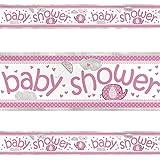 """Unique Party 41668LF"""" Umbrellaphants Baby Shower Foil Banner, Pink, 12 ft"""
