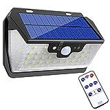 Solarlampen für Außen, Bovon 55 LED Solarleuchte mit Bewegungsmelder, Unterstützt Alternative USB-Auflade und Fernbedienung, Wasserdichte Solar Betriebene Sicherheitswandleuchte für Garten (Schwarz)