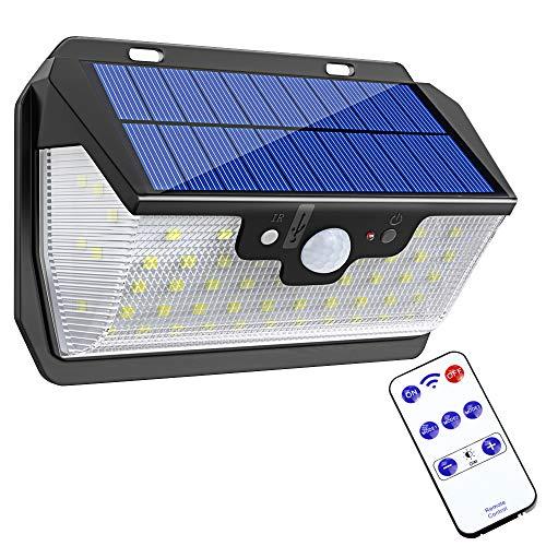 Bovon Luce Solare 55 LED, Lampade Solari con Sensore di Movimento [Ricarica USB, Telecomando] 3 modalità di Illuminazione, Luci Solari Esterno per Giardino, Parete, Cortile, Garage, Patio