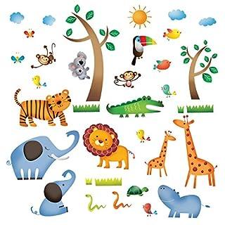 Decowall DW-1206 Animaux Jungle Sauvages Autocollants Muraux Mural Stickers Chambre Enfants Bébé Garderie Salon