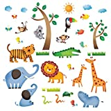 Decowall DW-1206 Animaux Jungle Sauvages Autocollants Muraux Mural Stickers Chambre Enfants Bébé Garderie Salon