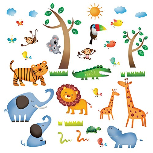 Decowall DW-1206 Animales Salvajes de la Jungla Vinilo Pegatinas Decorativas Adhesivas, Pared Dormitorio Salón Guardería Habitación Infantiles Niños Bebés