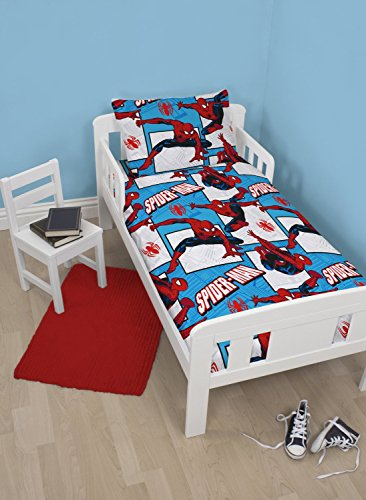 Disney Spiderman Ultimate Parker 4 in 1 Junior Rotary Bedding Bundle Set (Duvet, Pillow, Covers)