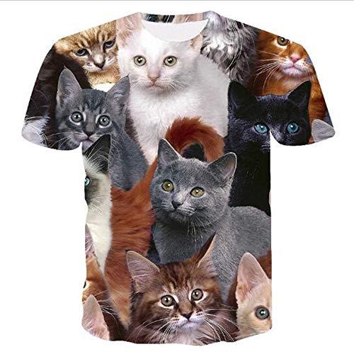 3D Print Weste Herren Tank Top Fitness Ärmelloses Shirt Herren Bekleidung Sportswear Unterhemd Sommer,Cartoon gedruckte Katze Mischen XL -