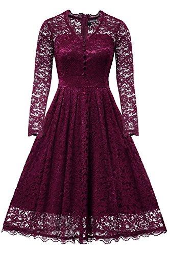 Gigileer Elegante 52s Damen Spitze Langarm Kleid Swing Abendkleid Party Hochzeit Burgundy L