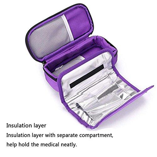 51rpdf%2BZXgL - Bolso portátil del refrigerador del organizador de la insulina, bolso del refrigerador del viaje de la caja del protector médico con paquete de hielo para el diabético (Púrpura + 2 Bolsas de hielo)